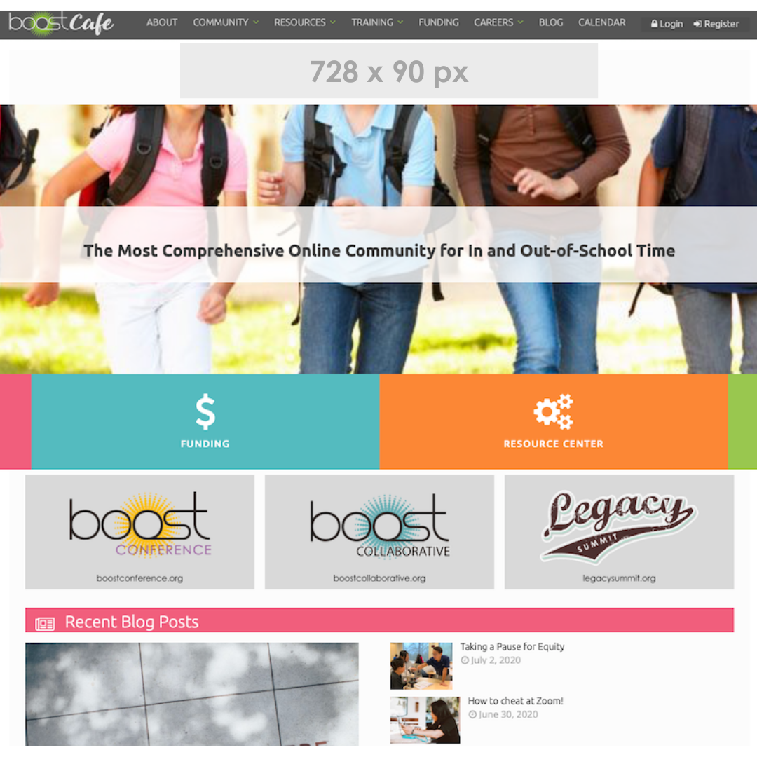 BOOST Cafe homepage banner ad example