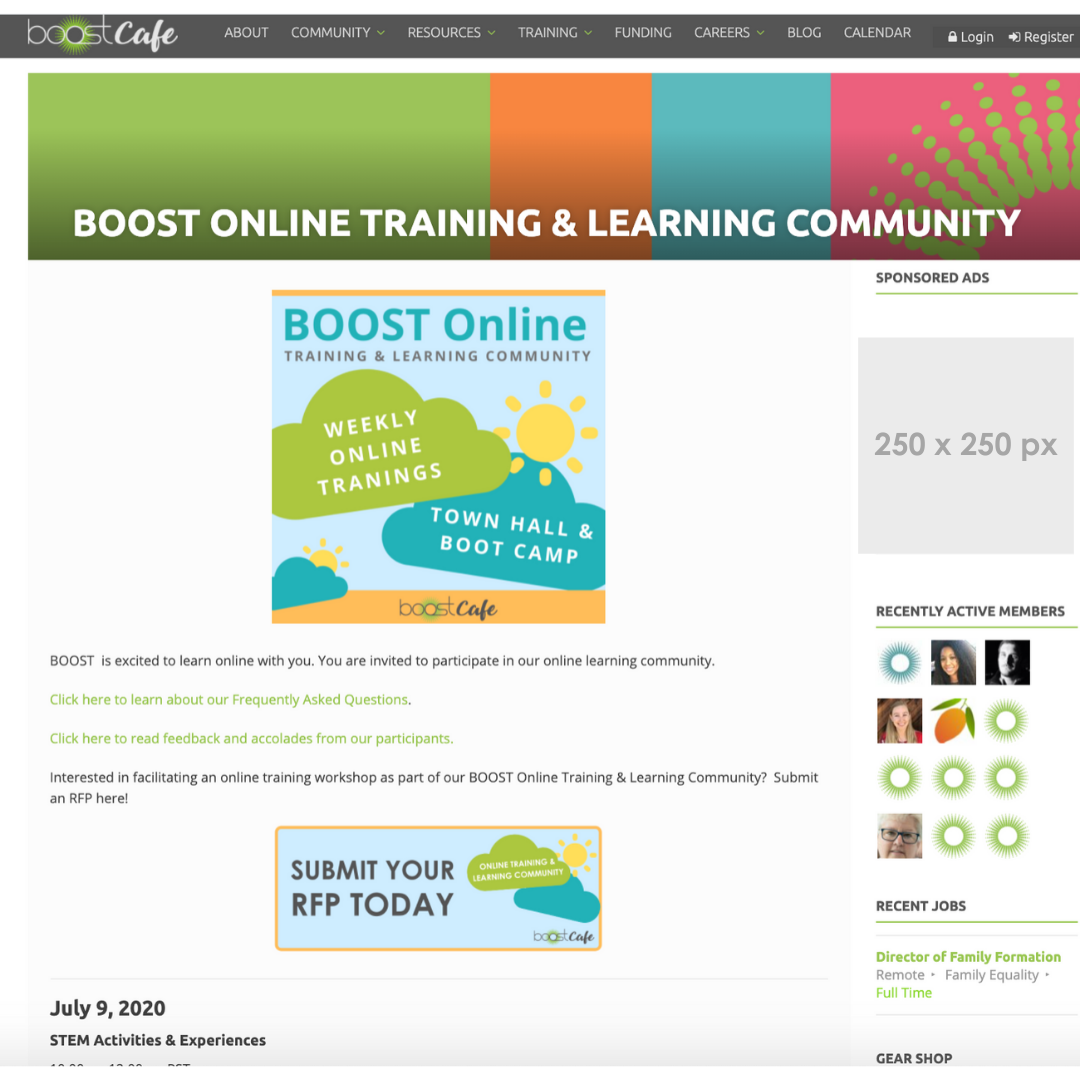BOOST Cafe sidebar banner ad example
