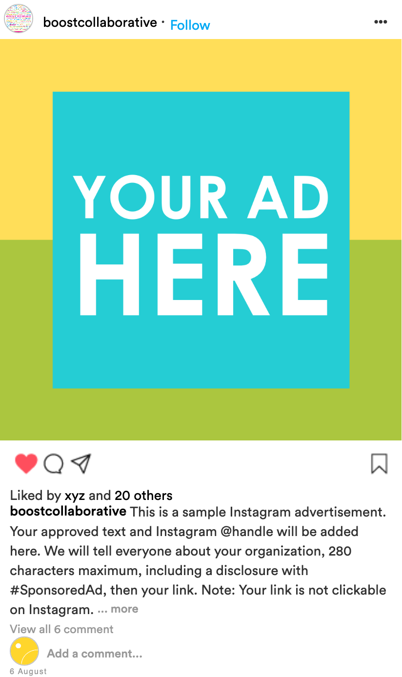 BOOST sample Instagram ad